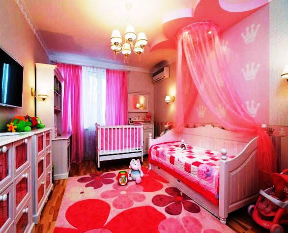Как расположить мебель в детской комнате, чтобы девочки могли полноценно отдыхать и заниматься, не мешая друг другу? Это основная задача при планировании