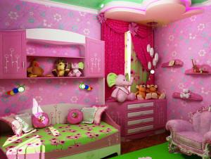 детская комната для девочки в розовом цвете фото