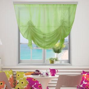 Фисташковые шторы для кухни