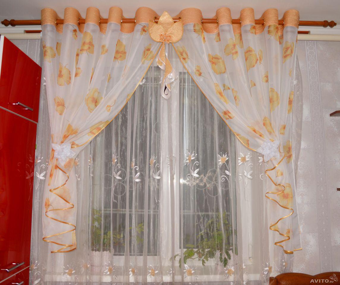 шторы для кухни фото простые