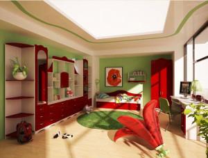 детская комната в красном цвете фото