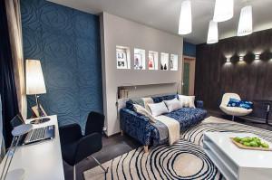 гостиная комната в холодных тонах фото