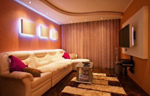 гостиная комната в теплых тонах фото