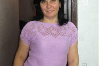 Пуловер, связанный поперёк