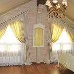 Скошенные шторы для кухни